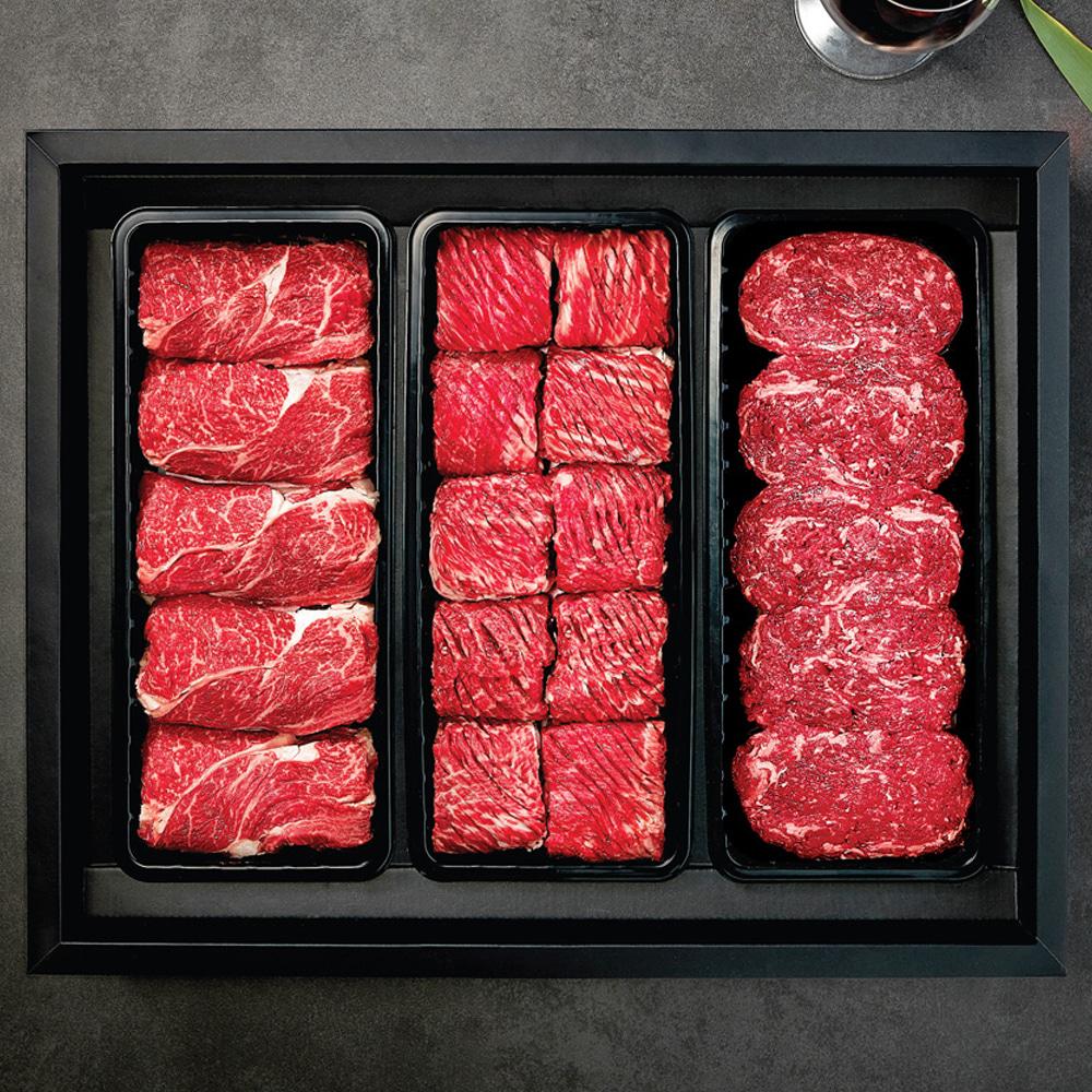 한우세트 2호 냉장 (등심900g + 불갈비1.2kg + 불고기1kg)